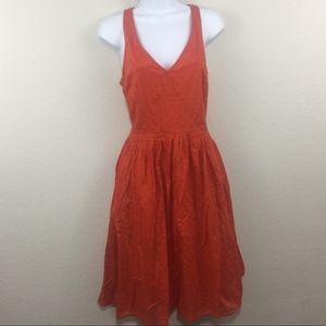 J. Crew Orange Fit and Flare Dress | Size 10